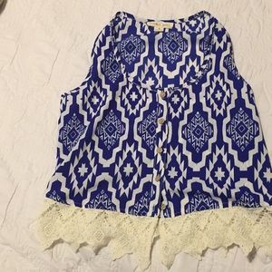 Blue and cream top